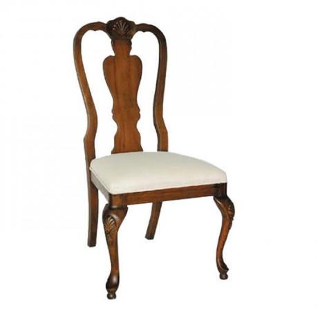 Ayakları Oymalı Lukens Klasik Ahşap Sandalye - ksa89