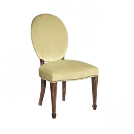 Bej Kumaşlı Ahşap Renkli Klasik Tornalı Sandalye - ksa87