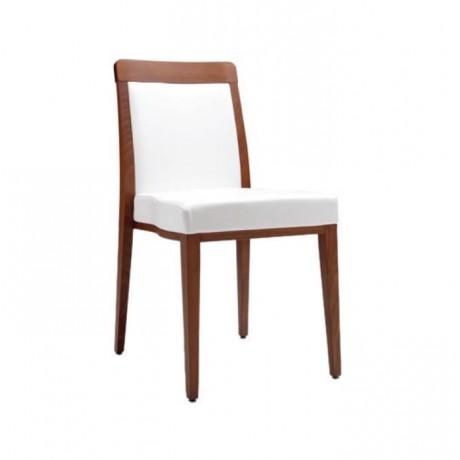 Beyaz Deri Döşemeli Eskitme Boyalı Otel Cafe Restoran Sandalyesi - msag133
