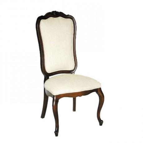 Beyaz Kumaş Döşemeli Lukens Ayaklı Ahşap Klasik Sandalye - ksa75