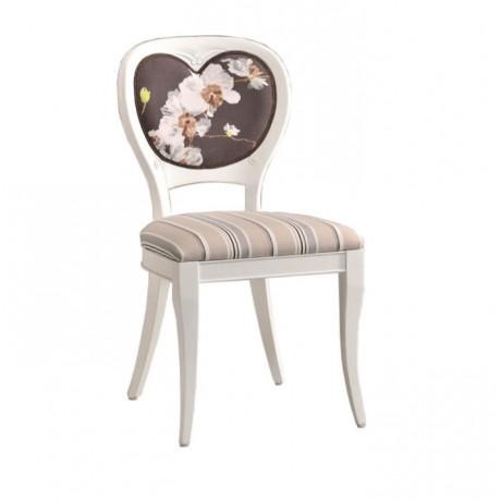 Beyaz Lake Sırtı Kalp Şekilli Klasik Sandalye - ksa162