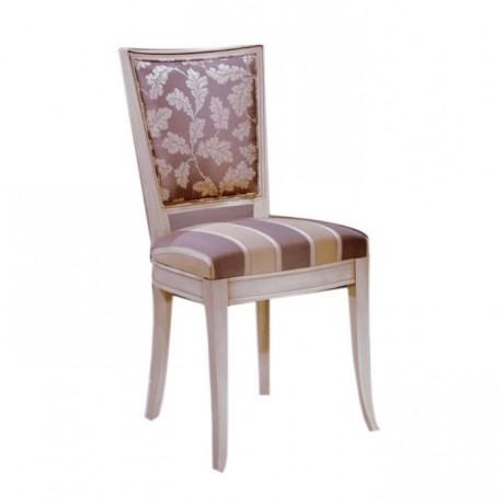 Beyaz Patineli Boyalı Desenli Kumaşlı Klasik Sandalye - ksa64