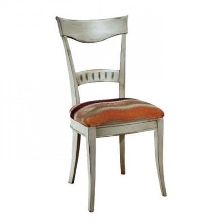 Beyaz Patineli Turuncu Minderli Klasik Sandalye - ksa69