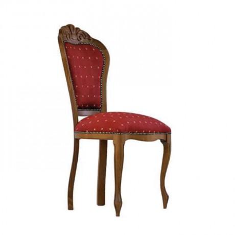 Bordo Kumaş Döşemeli Oymalı Lukens Ayaklı Klasik Sandalye - ksa83