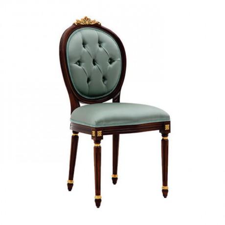 Çağla Yeşili Kumaş Döşemeli Kapitoneli Tornalı Ayaklı Klasik Sandalye - ksa129