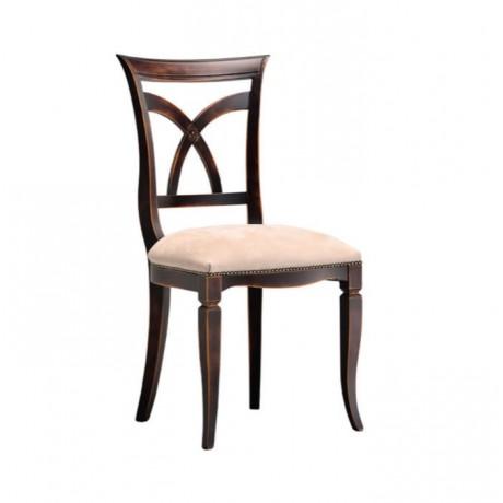 Çapraz Çıtalı Koyu Eskitme Krem Derili Sandalye - ksa153