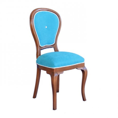 Antique Painted Blue Fabric Upholstered Classic Wooden Chair - ksa04