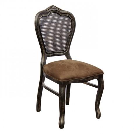 Hazeran Sırtlı Eskitme Klasik Siyah Ahşap Hasır Restoran Mutfak Ev Sandalyesi - ksa12h
