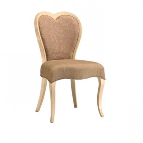 Kalpli Sırtlı Bej Kumaşlı Klasik Sandalye - ksa142