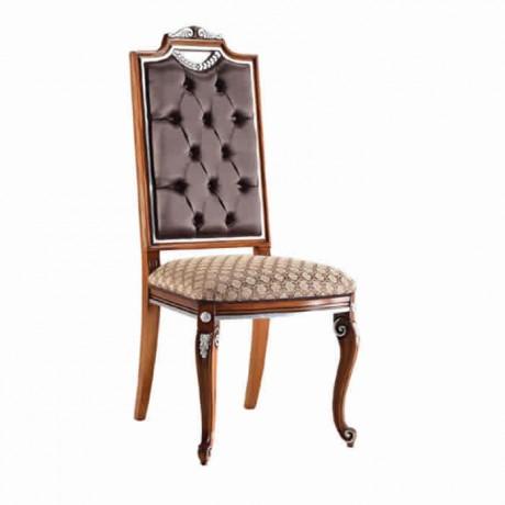 Kapitone Deri Döşemeli Lukens Ayaklı Klasik Kumaşlı Sandalye - ksa144