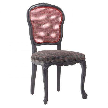 Kırmızı Hazeran Sırtlı Oyma Desenli Siyah Boyalı Ahşap Restoran Yazlık Ev Sandalyesi - ksa18h
