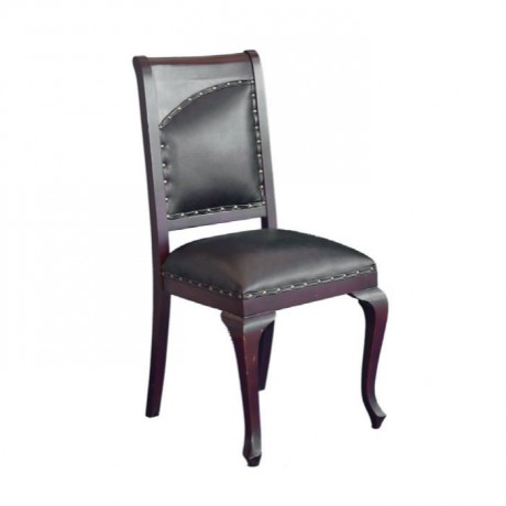 Red Painted Black Leather Upholstered Wooden Chair - ksa37