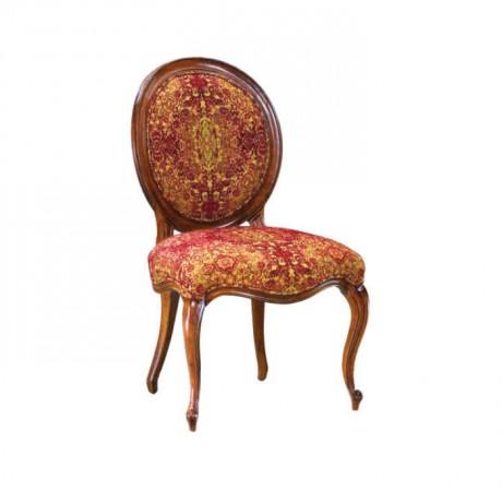 Klasik Desenli Kumaşlı Ahşap Yuvarlak Sırtlı Sandalye - ksa70