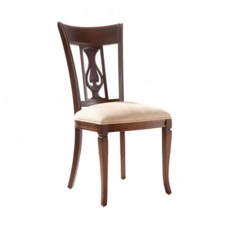 Koyu Ahşap Boyalı Krem Döşemeli Klasik Yemek Salonu Sandalyesi - ksa53