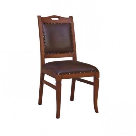 Koyu Ahşap Boyalı Siyah Derili Klasik Sandalye - ksa59