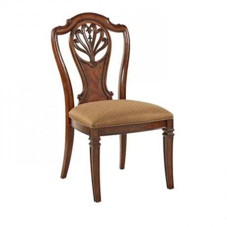 Dark Antique Wooden Hotel Chair - ksa117