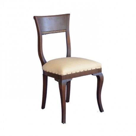 Koyu Eskitme Krem Deri Döşemeli Ahşap Klasik Sandalye - ksa38