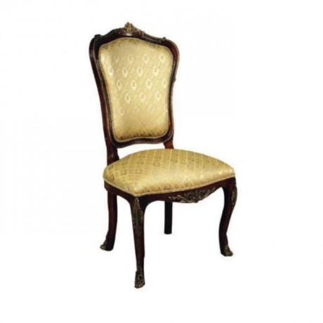 Koyu Eskitme Oymalı Taftalı Kumaşlı Klasik Sandalye - ksa74