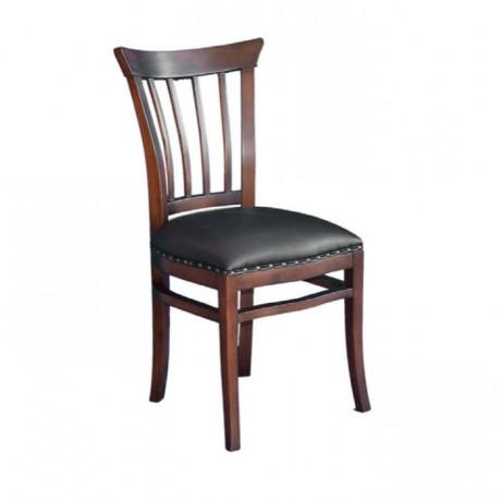 Dark Antique Black Leather Wooden Restaurant Chair - ksa23