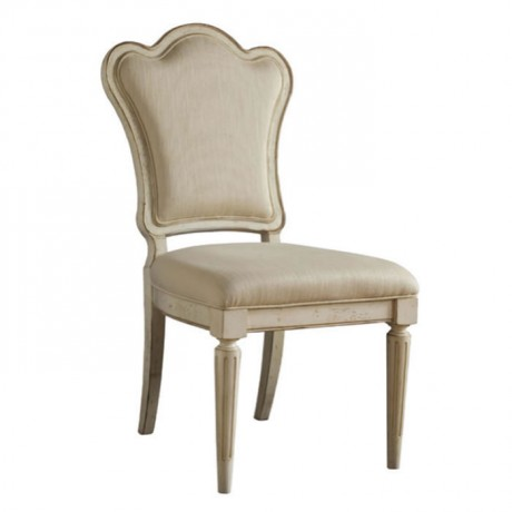 Cream Lacquered Painted Classic Wooden Chair with Cream Leather - ksa100