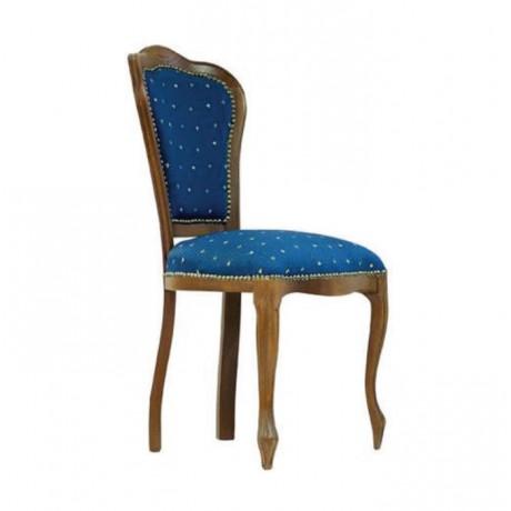 Lacivert Kumaşlı Lukens Ayaklı Ceviz Boyalı Klasik Sandalye - ksa82