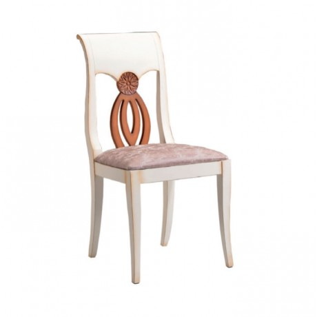 Lake Beyaz Boyalı Oymalı Klasik Otel Sandalye - ksa141