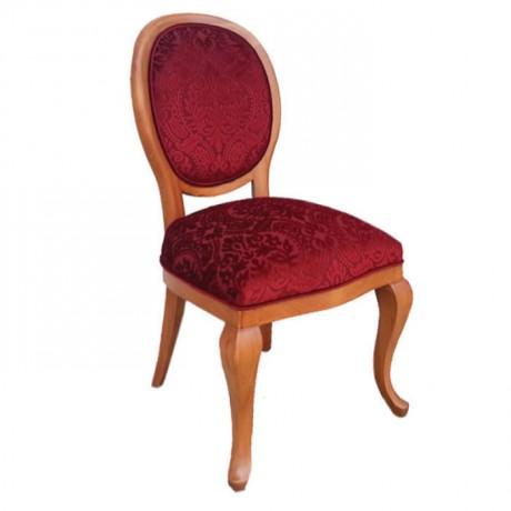 Lukens Ayaklı Bordo Desenli Kumaş Döşemeli Klasik Sandalye - ksa32
