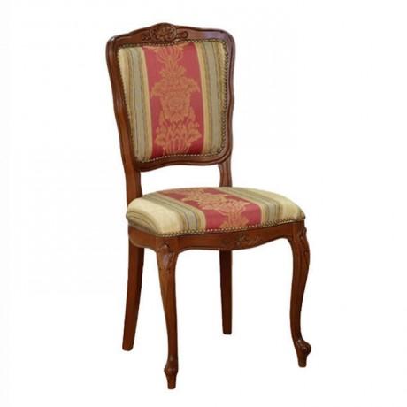 Lukens Ayaklı Ceviz Boyalı Desenli Kumaşlı Klasik Sandalye - ksa139