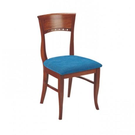 Mavi Kumaşlı Ceviz Boyalı Klasik Sandalye - ksa38a