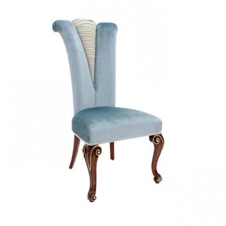 Mavi Kumaşlı Lukens Ayaklı Oymalı Klasik Sandalye - ksa164