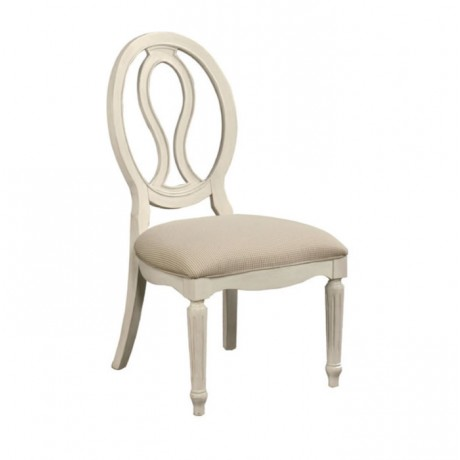 Oval Backrest White Lake Painted Wooden Classic Chair - ksa102