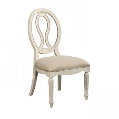 Oval Sırtlı Beyaz Lake Boyalı Ahşap Klasik Sandalye - ksa102