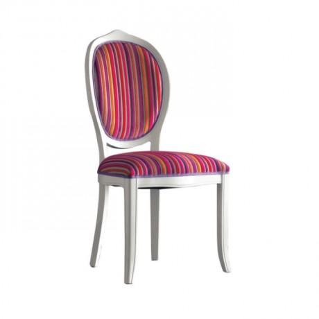 Oval Sırtlı Çizgili Kumaş Döşemeli Klasik Beyaz Sandalye - ksa85