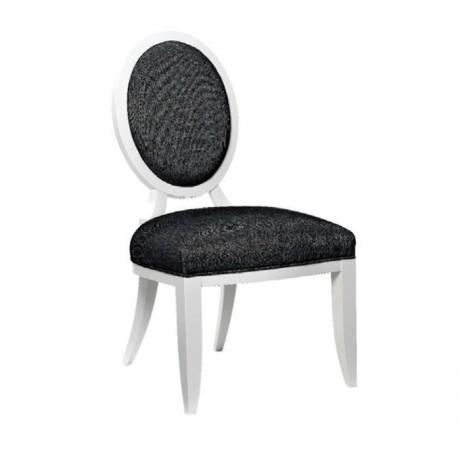 Oval Sırtlı Siyah Desenli Kumaşlı Klasik Ahşap Sandalye - ksa86