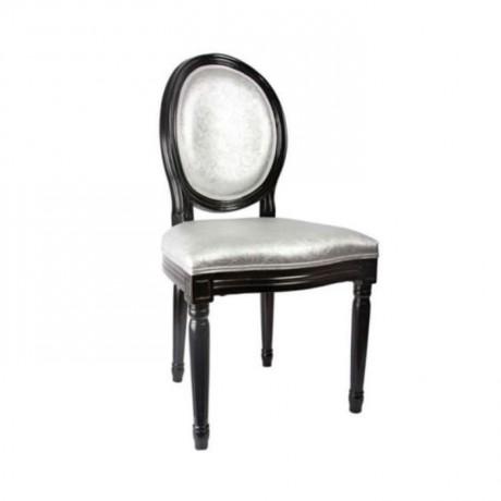 Oval Sırtlı Siyah Parlak Boyalı Klasik Sandalye - ksa78