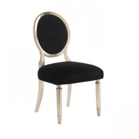 Oval Sırtlı Tornalı Ayaklı Siyah Döşemeli Sandalye - ksa31