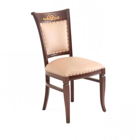 Oymalı Koyu Eskitme Cilalı Krem Döşemeli Ahşap Sandalye - ksa54