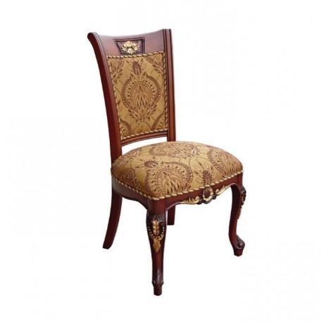 Oymalı Lukens Ayaklı Klasik Kumaş Döşemeli Klasik Sandalye - ksa22