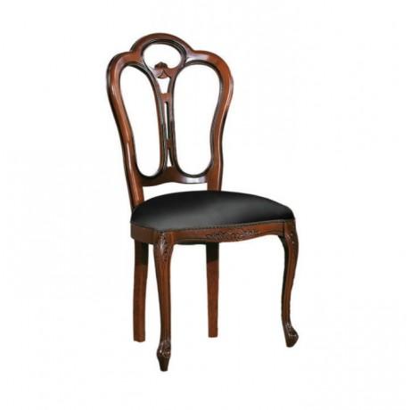 Oymalı Siyah Minderli Ahşap Klasik Sandalye - ksa94