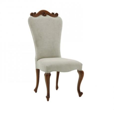 Tepesi Oymalı Beyaz Nubuk Kumaş Döşemeli Klasik Sandalye - ksa126