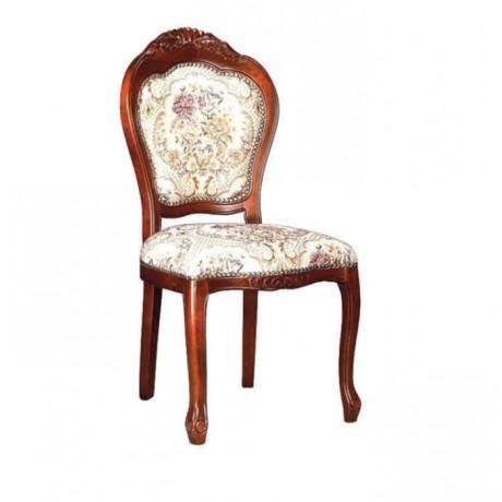 Tepesi Oymalı Lukens Ayaklı Klasik Ahşap Sandalye - ksa97