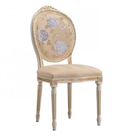 Tornalı Ayaklı Oval Sırtlı Tepesi Oymalı Klasik Sandalye - ksa136