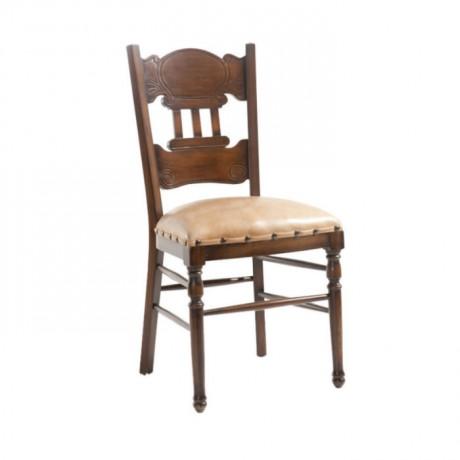 Tornalı Klasik Deri Döşemeli Eskitme Sandalye - ksa49