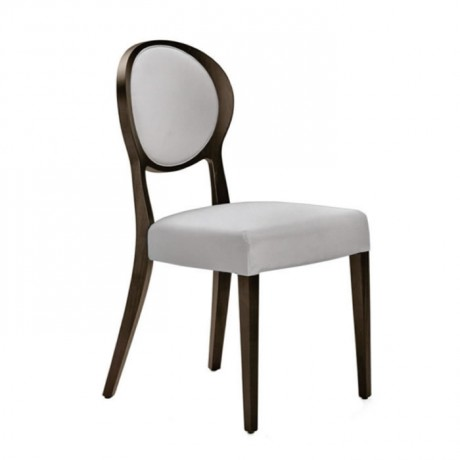Round Backed White Leather Upholstered Wooden Classic Chair - ksa105