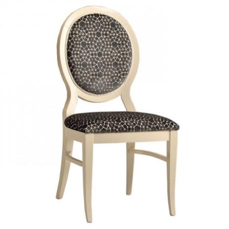 Yuvarlak Sırtlı Beyaz Lake Boyalı Siyah Desenli Kumaşlı Klasik Sandalye - ksa165