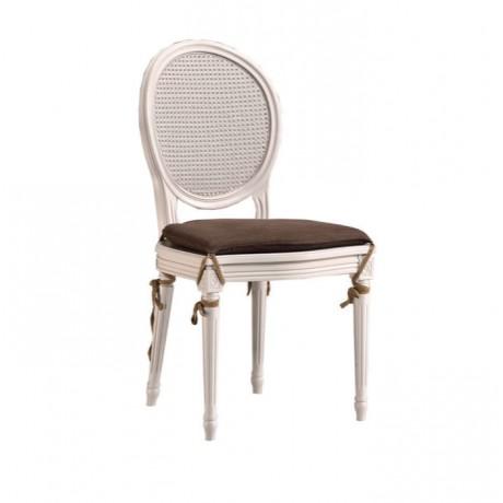 Yuvarlak Sırtlı Torna Ayaklı Lake Beyaz Sandalye - ksa111