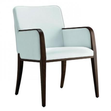 Beyaz Kumaşlı Ahşap Renkli Modern Kollu Sandalye - mska69