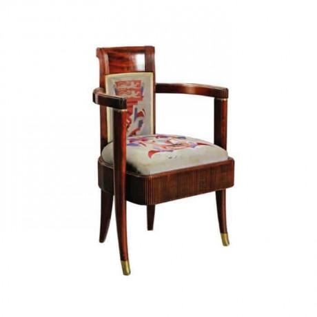 Klasik Kollu Ahşap Boyalı Desenli Kumaşlı Sandalye - ksak116