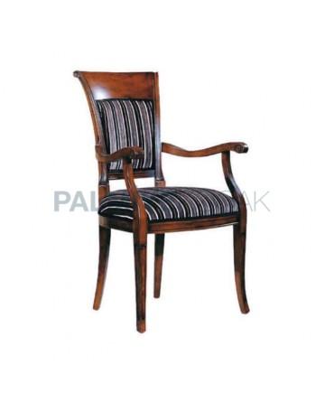 Klasik Kollu Ceviz Boyalı Restaurant Sandalyesi