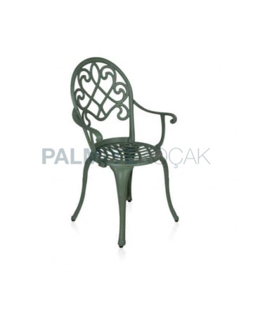 Gray Painted Aluminum Casting Garden Chair with Classic Arm